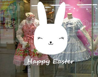Happy Easter Sweet Rabbit, Decorative Glass Shop Window Display, Removable Stickers Australian Made