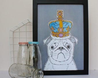 ON SALE Pug In A Crown Print