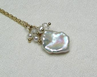 Gold Pearl Bridal Necklace Keshi Pearl Necklace Keshi Petal Pearl Cluster Necklace Beach Wedding Necklace Bridesmaid Jewelry Bridesmaid Gift