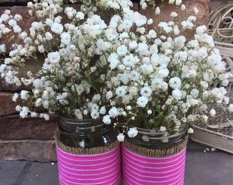 Mason Jar Wrap, Pink Stripe, Mason Jar Decoration, Baby Shower, Party, Wedding Decoration
