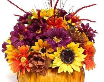 """CHRISTMAS IN JULY Bright Fall Pumpkin Arrangement Floral Centerpiece Thanksgiving Large Silk Floral Sunflower Mix Pumpkin 16""""(l) x 14""""(h)"""