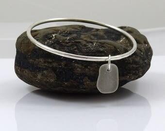 Sterling Silver Bangle | White Sea Glass | Sea Glass Charm | Sterling Silver Bracelet | Hammered Bangle | Nautical | Beach Wedding