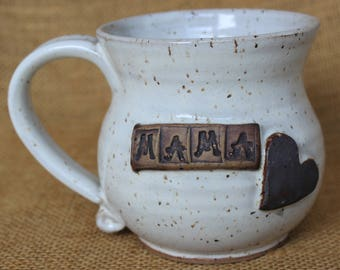 Mama pottery mug with heart, gift for mom, Stoneware wheel thrown