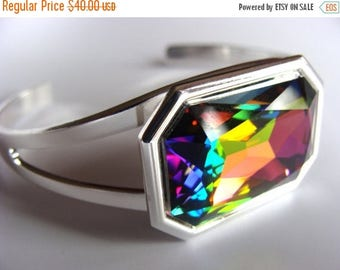 Multi Color Vitrail Medium Swarovski Crystal Large Stone Cuff Bracelet