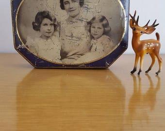 Antique English Candy Tin featuring British Royal Family Queen Mum Princess Elizabeth Princess Margaret Birmingham England