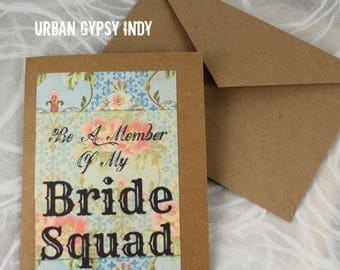 C 106 Love Card Bride Squad Greeting Paper Card Blank Note Card Handmade Paper Card