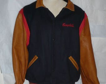 Campbell's Soup leather and wool varsity-style jacket 1990s