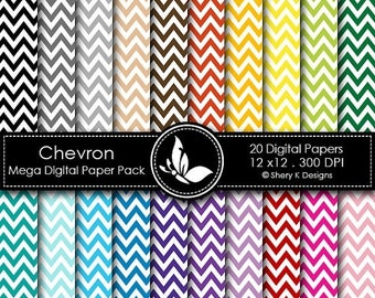 40% off Chevron Mega Paper Pack - 20 Printable Digital papers - 12 x12 - 300 DPI