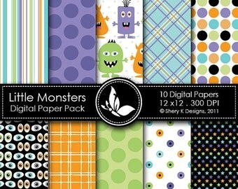 40% off Little Monsters Paper Pack - 10 Printable Digital papers - 12 x12 - 300 DPI