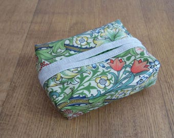 William Morris Golden Lily Print Oilcloth Facial Wipe Pack Cover.
