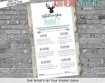 what's on your phone shower game | gender reveal party game | deer baby shower invitation | rustic baby boy shower | 1238b Katiedid Designs