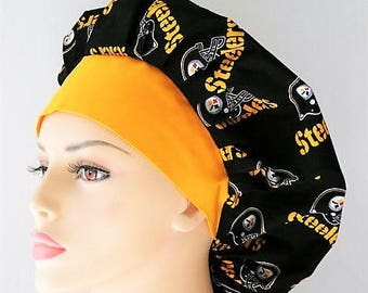 Pittsbrg Steelers Scrub Hat-Bouffant Surgical Scrub Hat-NFL Scrub Hat-Scrub Hats-Scrub Caps-Medical Scrub Hat-Womens Scrub Hats-Team Sports