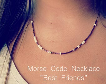 Best Friend Necklace - Bestfriend Necklace - Friendship Necklace - Best Friend Morse Code Necklace - Morse Code Jewelry - BFF Necklace