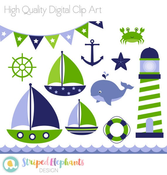 Nautical Clip Art Navy and Green Sail Boat Clipart Sea