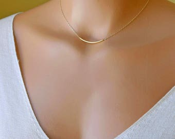 Delicate Gold Bar Necklace, Dainty Choker, Minimal Everyday Necklace, Layering Necklace, Delicate Choker, 14kGF, RG, S/S
