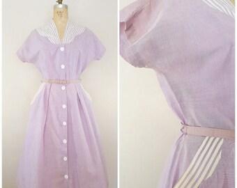 "20% OFF SALE Vintage 1940s 1950s Dress / Purple Cotton Dress / Stripes / Day Dress / 30"" waist"