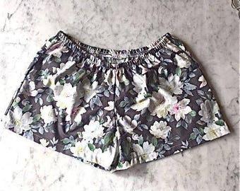 CUSTOM Bridesmaid Boxer Shorts. Womens Pajamas.  Boxer Shorts.  Womens Pajama Pants.  Bridesmaid Pajama Sets. Pajama Set. Black Floral.