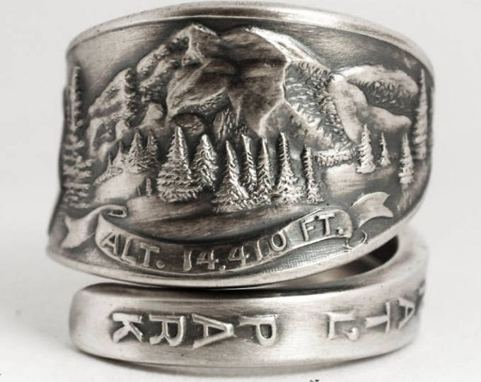 Mt Rainier National Park Ring, Sterling Silver Spoon Ring, Washington Mountain Landscape Ring, Gift for Hikier, Adjustable Ring Size (6928))