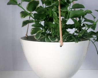 Large Hanging  Planter White Ceramic pottery  Hotess gift Wedding gift Made to order