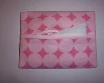 Baby doll diaper wipe case with wipes - pink on pink  - includes 1 case plus 3 fleece wipes
