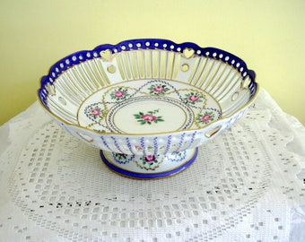 Vintage Porcelain Reticluated Pierced Pedestal China Compote Basket Dish Bowl Flower Floral Decoration Hand Painted Heart Motif Roses