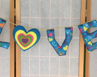 Felt LOVE Garland with heart - 29 inches long