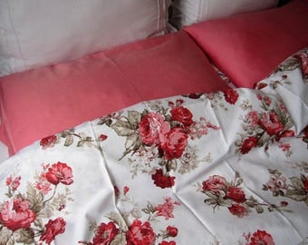 Floral oversized super palatial king duvet cover shabby chic Bedding Red green Pink roses print Twin/Full/Queen duvet cover romantic bedding