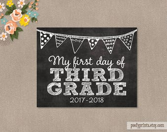 First Day of 3rd Grade Chalkboard Printable Sign - 8 x 10 Printable First Day of Elementary School Sign - INSTANT DOWNLOAD - 500