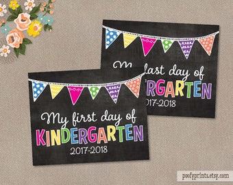 First & Last Day of Kindergarten Chalkboard Printable Sign - 8 x 10 Printable First Day of School Sign - INSTANT DOWNLOAD - 505