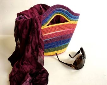 Hand Dyed Clothesline Tote Bag  Repurposed Coiled Rope Basket  Beach Carry All  Handmade Fiber Art  Cotton Market Basket  Multi-colored Tote