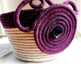 Hand Dyed Clothesline Basket  Repurposed Coiled Rope Bowl  Handmade Fiber Art Organizer  Cotton Basket  Plum Purple and Natural Fruit Bowl