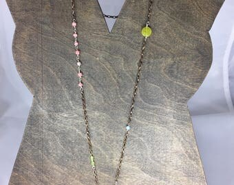 Long Statement Necklace copper chain and gemstones