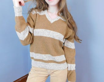 Vintage Speckled Knit Sweater by Sigallo, 70's Retro V-Neck Sweater