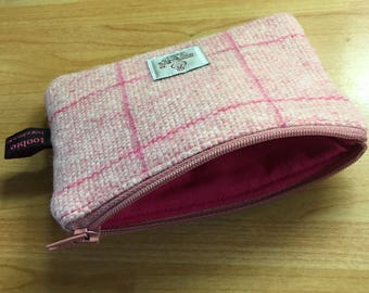 Harris Tweed pink check coin purse, zipped coin pouch, change purse, scottish gift, mothers day