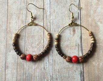 Red and brown beaded hoop earrings