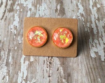 Melon gold flake opal studs