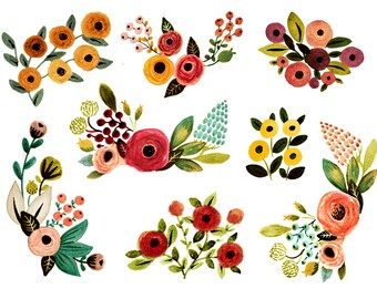 Floral clipart, watercolor floral clipart, fall florals clipart, clipart, watercolor fall clipart, boho clipart, nature clipart