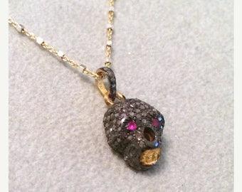 Summer SALE Diamond and ruby skull pendant