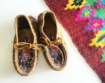 Handmade Suede and Textile Moccasins  , Leather Moccasins