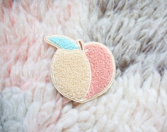 Iron On Patch -  Feeling Peachy Iron-On Embroidered Chenille Patch - Iron-On - Sew On Patches