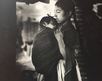 Vintage Photo Mexican Girl and Baby - Book Page Photo - 1962 - Nell Dorr Photo