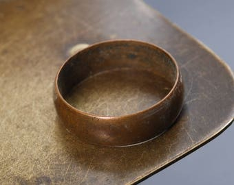 Antique brass primitive ring. Large man ring, size 8