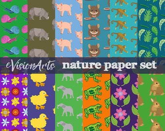 Nature digital papers, animals and plants scrapbook paper, wildlife paper, zoo paper, commercial use, digital download