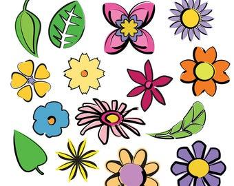 Flower Line  Art, Flower Clipart, Flower Clip Art, Leaf Clipart, Leaves Clipart, Nature Clipart, Garden Clipart, Digital Download