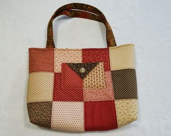 Charm Pack Purse or Small Tote-Red, Beige and Brown