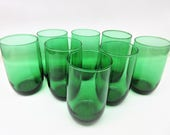 Vintage Roly Poly Glasses | Green Glass | Bar Glasses | Drinking Glasses | High Ball Glasses | Hocking Forest Green | 8 Ounce Glasses