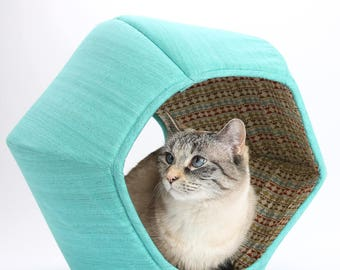 Teal or Turquoise cat bed with Southwestern Stripes Lining - The Cat Ball modern pet bed with two openings
