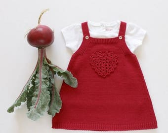 ON SALE Knitted baby skirt with crochet heart. Cerise. 100% cotton. READY To Ship size 3 months