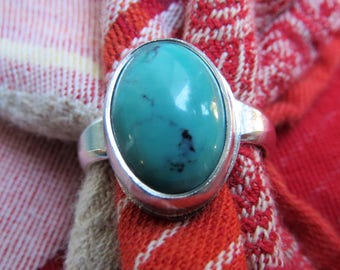 Beautiful Natural Turquoise in Argentium Sterling Ring Size 7