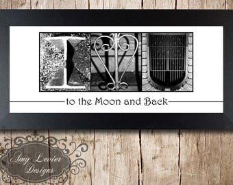 I <3 U (I heart U) Alphabet Photography Letter Photos - framed 5x12